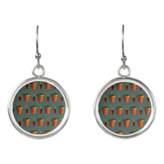 Sweet Potted Geometric Succelents Print Earrings