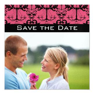 Sweet Raspberry & Black Chandelier Save the Date 13 Cm X 13 Cm Square Invitation Card