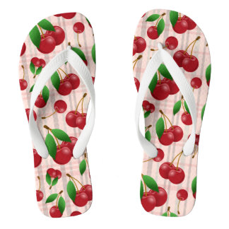 sweet red cherries on pastel plaid thongs