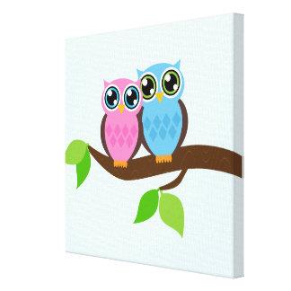 Sweet Romantic Owls Canvas Prints