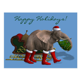Sweet Santa Claus Elephant Postcard