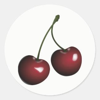 Sweet Shiny Pair of Red Cherries Round Sticker