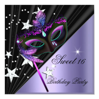 Sweet Sixteen 16 Lilac Black Silver Mask 13 Cm X 13 Cm Square Invitation Card