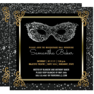 Sweet Sixteen Masquerade Ball Sweet 16 Silver Gold Card