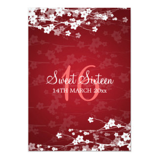 Sweet Sixteen Party Cherry Blossom Red 13 Cm X 18 Cm Invitation Card