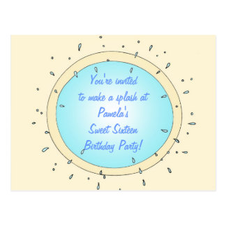 Sweet Sixteen Pool Party Birthday Invitations Postcard