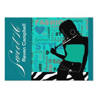 Sweet Sixteen Posh Popp Zebra aqua | teal Card