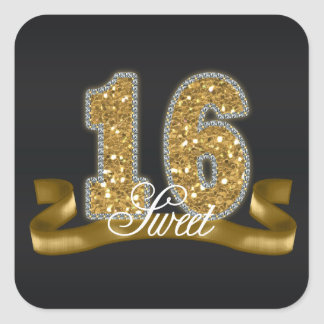 Sweet Sixteen Sparkle Gold ID243 Square Sticker