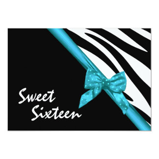 Sweet Sixteen Zebra and Ribbon Card