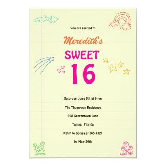 Sweet Sketch Sweet 16 Birthday Party Invitation