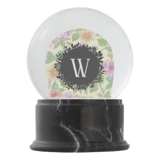 Sweet Soft Colored Spring Flowers with Monogram Snow Globe