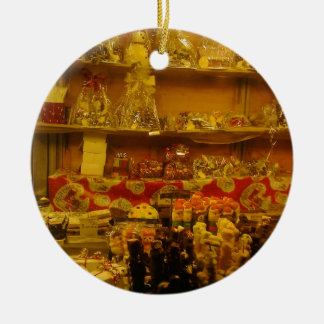 Sweet Stall at German Christmas Market, Manchester Round Ceramic Decoration