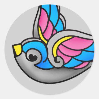 sweet swallow round sticker