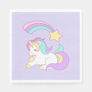 Sweet Unicorn with Rainbow Shooting Star Paper Napkin