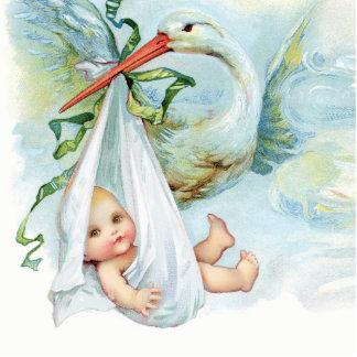 Sweet Vintage Blue Stork Baby Boy Shower Standing Photo Sculpture