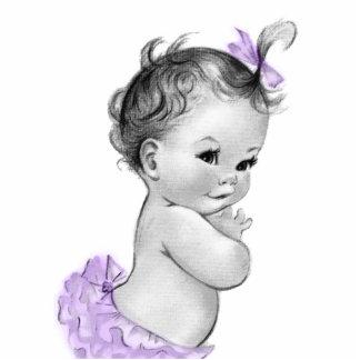 Sweet Vintage Lavener Purple Baby Girl Shower Standing Photo Sculpture