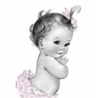 Sweet Vintage Pink Baby Girl Shower Standing Photo Sculpture