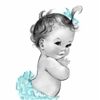 Sweet Vintage Teal Blue Baby Girl Shower Standing Photo Sculpture