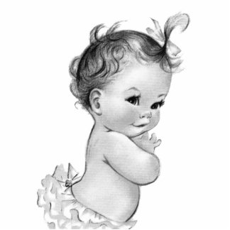 Sweet Vintage White Baby Girl Shower Standing Photo Sculpture