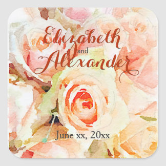 Sweet Watercolor Design Peach Roses Names Wedding Square Sticker