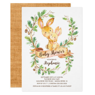 Sweet Woodland Bunny Baby Shower Invitation