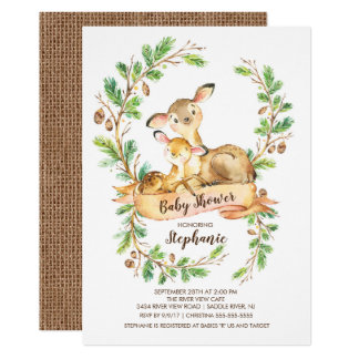 Sweet Woodland Deer Baby Shower Invitation
