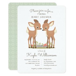 Sweet Woodland Deer Twin Baby Shower Invitation