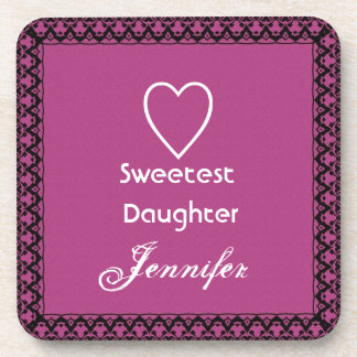 Sweetest Daughter Magenta and White Lace Gift Coaster