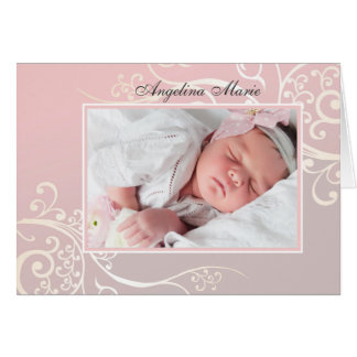 Sweetness Pink Folded Photo Birth Announcement