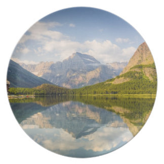 Swiftcurrent Lake with Many Glacier hotel and Plate