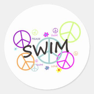 Swim Colored Peace Signs Sticker