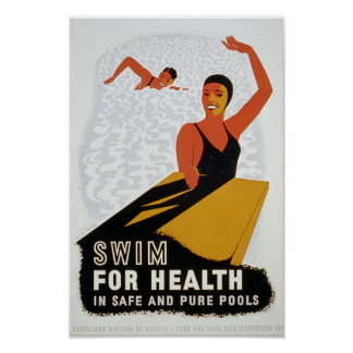 Swim for health in safe and pure pools poster
