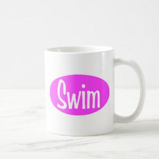 Swim pink oval coffee mug