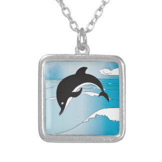 Swim With Dolphins Silver Plated Necklace