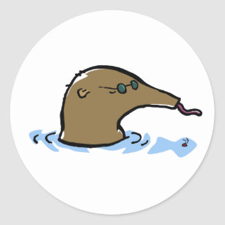 swimming anteater classic round sticker