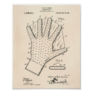 Swimming Glove 1916 Patent Art Old Peper Poster