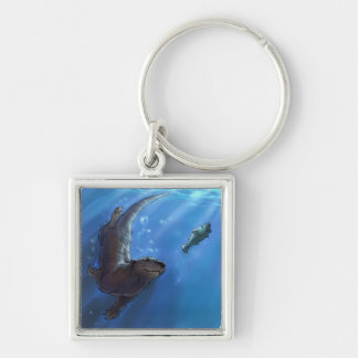 Swimming otter Silver-Colored square key ring