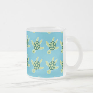 Swimming Turtles Frosted Glass Mug
