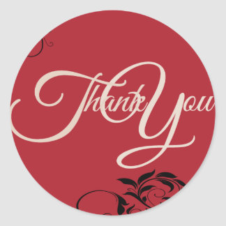 Swir Thank You Label Seal - Wedding Black and Red Round Sticker