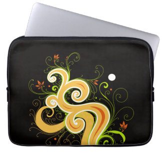 swirl flowers vector art laptop sleeve