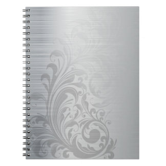 Swirl On Brushed Silver Notebooks