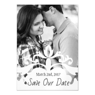 Swirl Overlay Photo Save The Date Magnetic Invitations