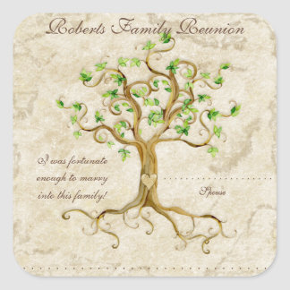 Swirl Tree Roots Antiqued Family Reunion Name Tags Stickers