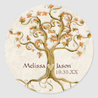 Swirl Tree Roots Antiqued Personalized Names Heart Round Sticker