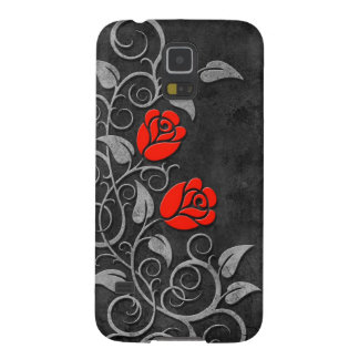 Swirling Dark Stone Red Roses Galaxy S5 Covers
