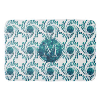 Swirling Dots in Sparkling Teal Bath Mats