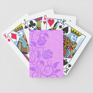 Swirling Purple Roses Bicycle Poker Cards