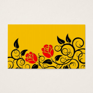 Swirling Red Roses, yellow background