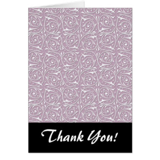 Swirling Vine Pattern White over Rose Card