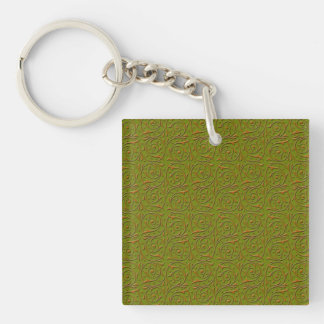 Swirling Vines Gold over Olive Green Key Ring